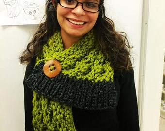 Chunky knit scarf. Chartreuse. Grey. Handmade wood button. Lace knit warm scarf.