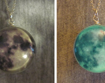 Glow in the Dark Moon Necklace, Sterling Silver Hand Made