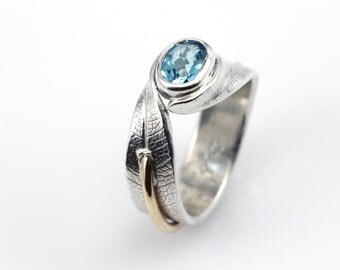 Wrapped Bodhi Leaf Ring, engagement rings, topaz ring, recycled metal, wedding ring, blue topaz, silver and gold, unique rings, eco friendly