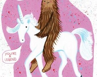Bigfoot and Unicorn 8.5 x 11 digital print
