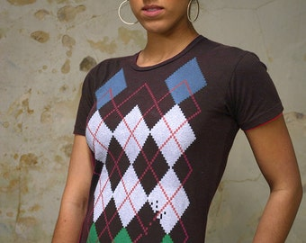 Clearance Shirt - Retro Video Game Shirt - Argyle Shirt - Women's T-shirt - Gamer Girl - Gamer Gifts - Women's Graphic Tee