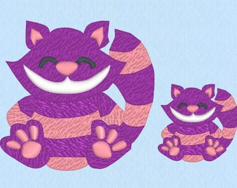 Smiling Cheshire Cat Machine Embroidery Design File in 2 sizes - Alice in Wonderland style