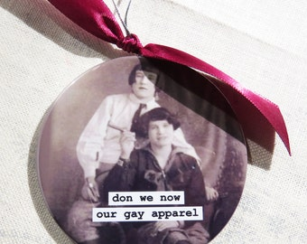 Funny Gay Women Christmas Ornament  Don we now our Gay Apparel  3 inch mylar magnet back