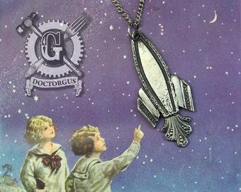 Rocket Ship Pendant - Inspired by Antique Victorian Silverware - Doctorgus Handmade Jewelry Creations - Steampunk Style Spaceship Rocketship