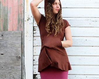ORGANIC Howrah Hooded Kangaroo Pocket Tunic ( light hemp/organic cotton knit ) - organic  hemp dress