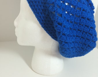 Crocheted Slouch Hat, Medium Sparkly Royal Blue