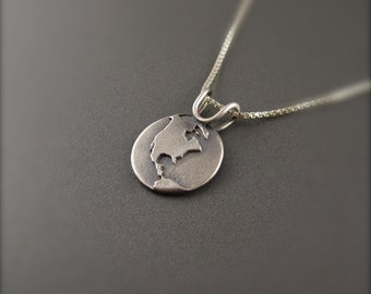 One World Sterling Silver Pendant -North America