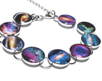 Galaxy Bracelet, Space Bracelet, Galaxies, Nebula, Resin Jewelry, Resin Bracelet, Handmade Jewelry, Space Jewelry, Solar System, Lunar, Moon