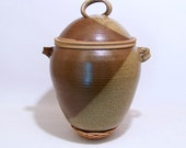 Handmade Hanging Lidded PotteryJar in Brown and Olive will create a unique focal point in a vaulted room