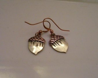 Acorn Earrings in Mixed Metals - Copper and Brass