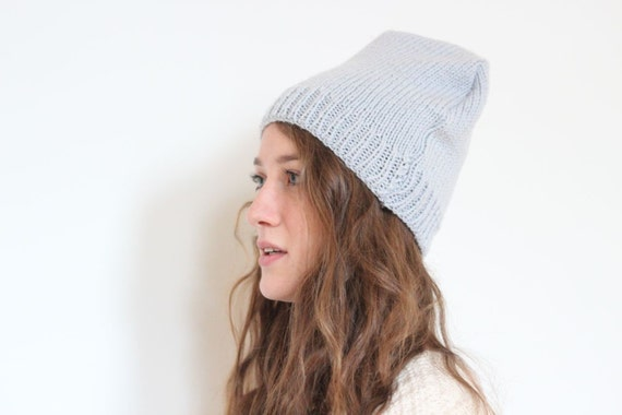 Slouchy Hat Upcycled Sweater Light Gray Neutral Tone Knit Boho Winter Fashion Ski Beanie Winter // made in Vermont // by Nicoles Threads