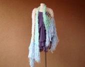Pastel Rainbow Shawl Extra Large Scarf Wrap Knit Pashmina in Light Pink, Yellow, Aqua, Blue, Mint Green, Lavender Purple