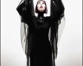 Black Dahlia ~ Sheer Black Chiffon Dracula's Bride Gown by Kambriel