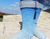 Blue Skies Ahead Gradient Stripes Matching Socks Set, 2-50g Cakes, Greatest of Ease (dyed to order)