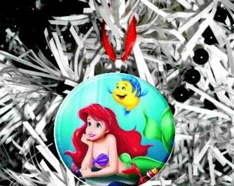 "LIttle Mermaid Ariel & Flounder 2.25"" Ornament"