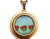 Agua - Red Tulips Flower Photo Locket Necklace