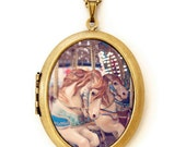 Carousel - Carnival Ride Carousel Horses Photo Locket Necklace