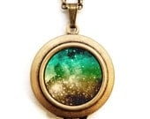 Galaxy - Photo Locket - Constellation Stars Cosmic Heaven Galaxy Photo Locket Necklace