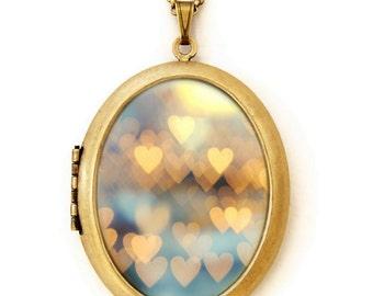 Photo Locket - Holding Onto Love No. 2 - Bokeh Hearts Photo Locket Necklace