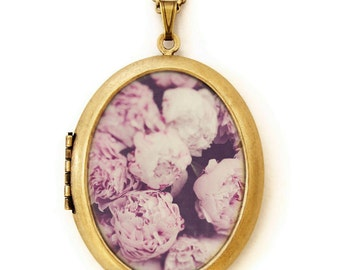 Photo Locket - Persuasion - Pink Peonie Flower Photo Locket Necklace