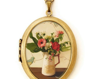 Art Locket - Flights of Fancy - Floral Still Life Oil Painting Reproduction Art Locket Necklace