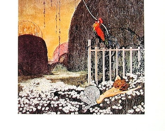 In Powder and Crinoline - Kay Nielsen - 1974 Vintage Children's Storybook Page - 11 x 9