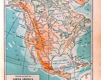 1912 Antique Colored Map of North America - Small Map - 9 x 7