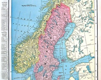 11 x 15 map etsy map of sweden and norway 1899 antique map crams world atlas map 15 gumiabroncs Images