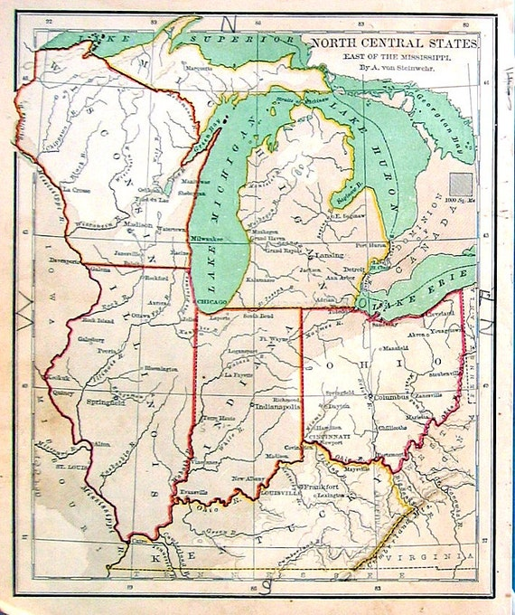 Small Map Of US North Central States East Of The Mississippi - North central us map
