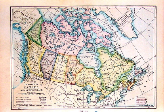 1912 Antique Colored Map of the Dominion of Canada