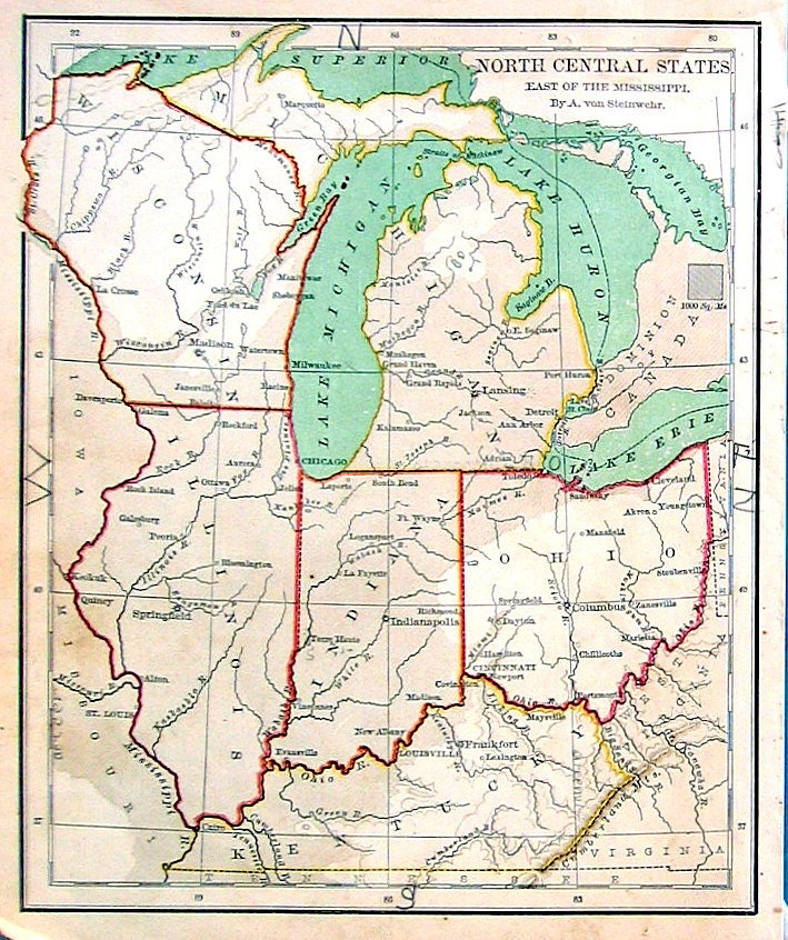 Small Map of US North Central States East of the Mississippi