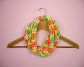 KIDS COWL SCARF Girls Neon Day Glow Bright Colors Child Infinity Circle Yellow Orange Pink Lime