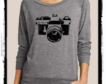 Camera OH SNAP Heathered Slouchy Pullover long sleeve Girls Ladies shirt screenprint Alternative Apparel