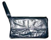 Vintage Enny leather clutch, butter soft leather in midnight blue, Italian designer purse, rare design, Unisex