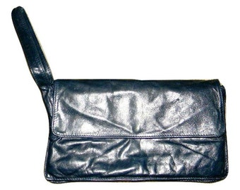 Vintage Enny leather clutch, butter soft leather in midnight blue, Italian designer purse, rare design, Unisex