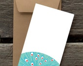 Peacock Love -- 8 Blank flat cards and envelopes