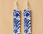 Cobalt Navy Blue Ikat Earrings - Acrylic Earrings - Blue and White Print Rectangle Acrylic Drop Earrings