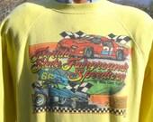 vintage 80s sweatshirt florida SPEEDWAY nascar auto car racing tampa Large Medium raglan crew neck