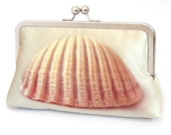 Clutch bag, shell purse, Scottish sea shell, beach wedding, bridesmaid gift, printed silk, CLAM SHELL