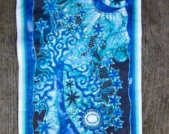 Teal and Purple Tree Batik Print Patch