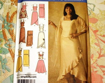 UNCUT Sewing Pattern 4242 Simplicity  - Evening Top, Skirt & Shawl, Plus Size 26, 28, 30, 32