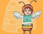Love the Bees Girl with Bee Book Digital Print from Original Illustration
