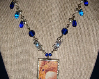 Hope Angel Necklace with Blue Teardrops inv59