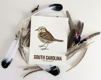 South Carolina State Bird, Nature art, Outdoor art, Vintage Map art, Art print, Wall decor, Rustic Nursery, Map prints - CAROLINA WREN