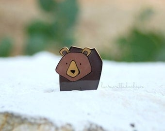 Brown Bear Brooch, Animal Brooch, woodland jewelry