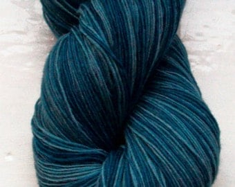 Hand painted yarn, soft merino wool, lace weight air force blue grey 100g