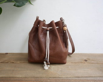 Brown Leather Bucket Bag / Drawstring Bucket Bag / Brown Bucket Bag / Brown Leather Bag