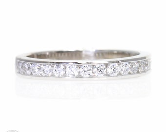 Channel Set Diamond Wedding Band 14K or Palladium Diamond Anniversary Band Diamond Ring Stacking Ring