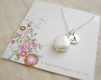 Custom bridesmaids necklace, coin pearl necklace with sterling silver initial, bridesmaids jewelry, personalizeds wedding party gift