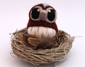 Needle Felted Tawny Owl Felt Mini Bird in Chestnut Brown